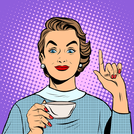 lunch: Girl with a Cup of tea or coffee pop art retro style. Hot drinks. Breakfast business woman