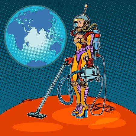 少女宇宙飛行士は火星ポップアートのレトロなスタイルの清掃。