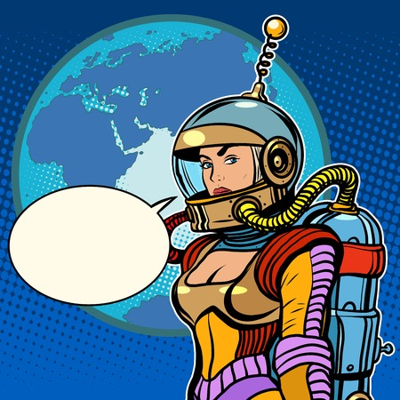 Girl cosmonaut on planet Earth pop art retro style. The pin up girl. Vintage spaceman science fiction.