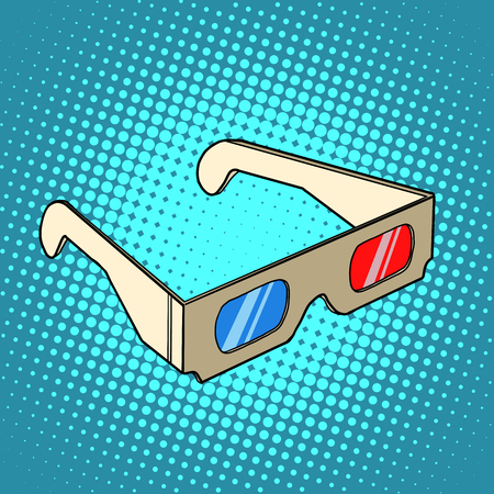 3D glasses: Stereo 3d glasses for cinema pop art retro style. Spectacle and leisure. Cardboard glasses in retro style Illustration