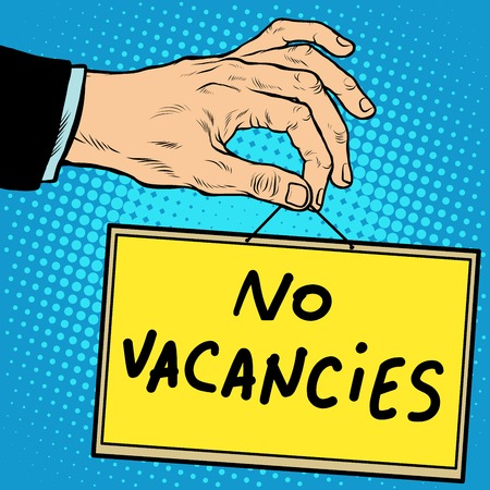 vacancies: Hand sign no vacancies pop art retro style. Lettering plate name text input.