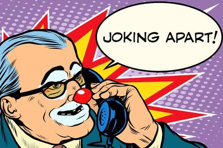 prank: evil clown boss joking apart pop art retro style. Prank call