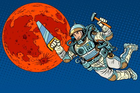 sf: Astronaut with tools for building a colony on Mars pop art retro style. Saw and hammer tools.