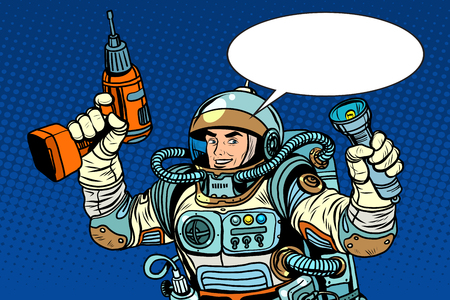 drill: Astronaut with a drill and flashlight pop art retro style. Repair equipment Illustration