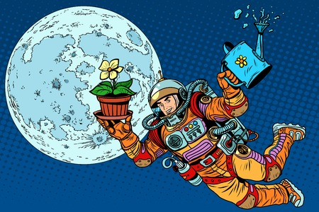 starship: Colonization moon astronaut plants pop art retro style. Ecology and science. Caring for the planet. Man astronaut
