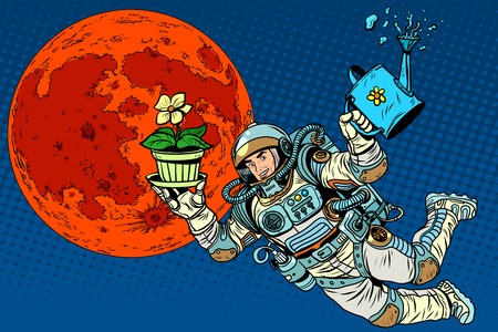irrigation: colonization Mars astronaut plants irrigation pop art retro style. Ecology and science. Agriculture and desert. Man astronaut Illustration