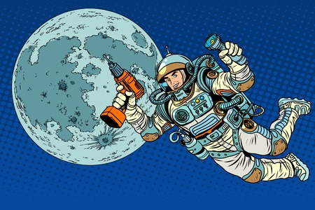 colonization: Astronaut with a drill and flashlight on the Moon pop art retro style. Repairs and construction. Colonization of the moon and other planets