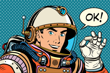 OK astronaut man okay gesture well pop art retro style. Okay vector. Retro space good quality