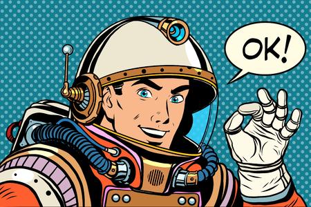 OK astronaut man okay gesture well pop art retro style. Okay vector. Retro space good quality