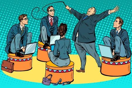 サーカス ポップ アート レトロなスタイルでビジネスマン トレーナーをボスします。サーカスとチームワークのビジネス ・ コンセプトです。政治