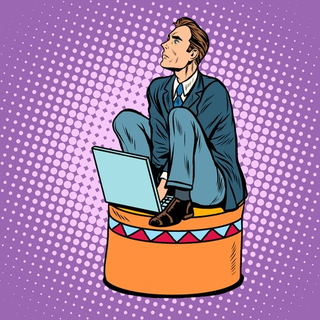 Businessman worker on a circus pedestal pop art retro style. The business concept submission, subordination, team work Vector Illustration