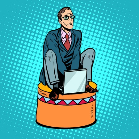 submission: Businessman worker on a circus pedestal pop art retro style. The business concept submission, subordination, team work