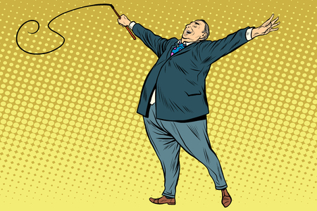 whip: Boss trainer with a whip pop art retro style. A long circus whip. The business concept of the circus and work Illustration