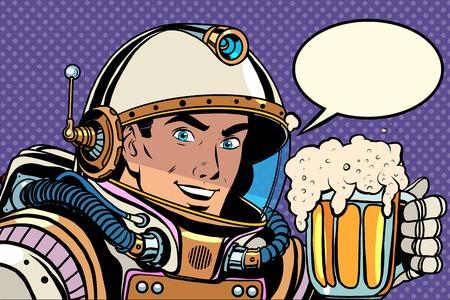 Astronaute avec une tasse de bière mousseuse pop art style rétro. Kvas et de la bière. Bars, pubs et restaurants