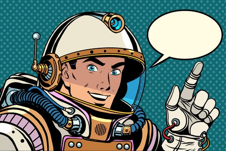 Astronaut pointing finger direction pop art retro style. the pointer gesture of the hand. Index finger.