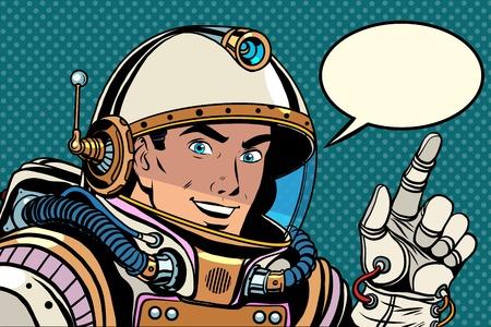 El astronauta apuntando estilo del arte pop retro dirección dedo. el gesto del puntero de la mano. Dedo índice. Ilustración de vector