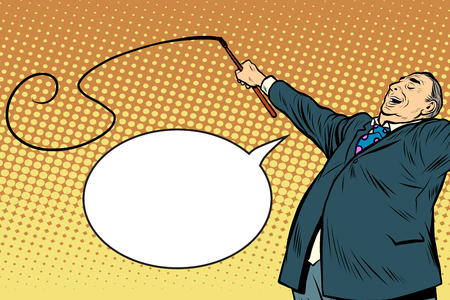 politics: Boss trainer with a whip pop art retro style. A long circus whip. The business concept of the circus and work Illustration