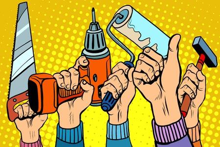 Outils de forage ont vu la peinture rouleau marteau style rétro pop art. Outils pour la réparation. Les réparations et la construction. Savoir-faire et la capacité Vecteurs