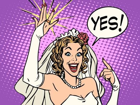 wedding bride: bride wedding ring happiness pop art retro style. Beautiful woman smiling. The joy of a wedding celebration. Vector bride