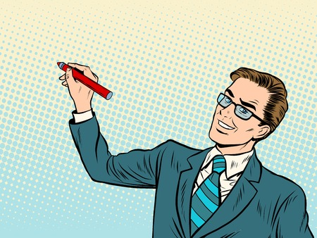 Male business coach draws on background pop art retro style. Business training. Drawing Board