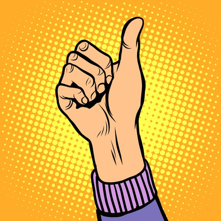 all right: Thumb up gesture like pop art retro style. Hand gesture is all right. Hitchhiking gesture. Like in social networks Illustration