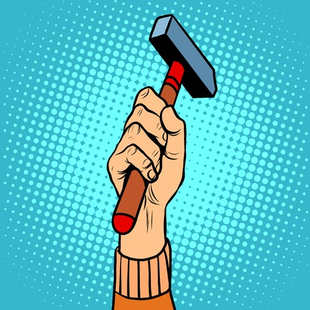 leverage: Hand with hammer vector illustration pop art retro style. Homemade tools for repair and construction