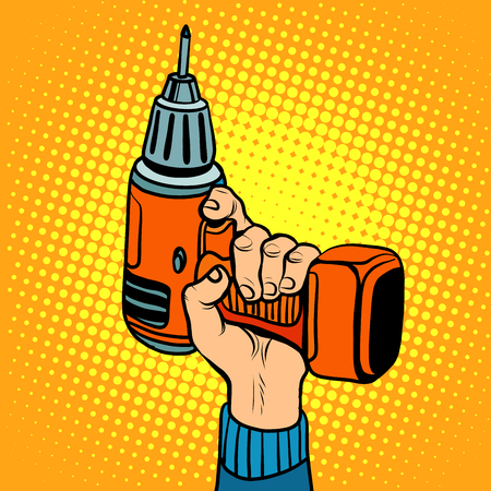 drill: Hand with an electric drill. Home repair and tools. Pop art retro style vector tool