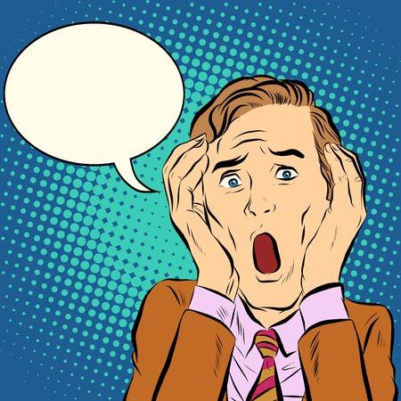 nightmare: Man terror screams pop art retro style. Leo men emotions. Vector man cry