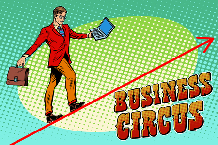 acrobat: Businessman acrobat business circus pop art retro style. The man is an acrobat on the rope. Chart of sales and growth. Circus and business Illustration