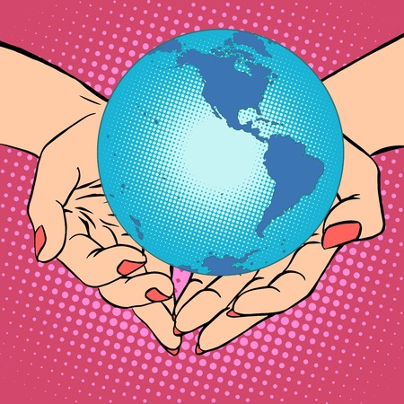 mankind: Planet Earth in hands pop art retro style. Earth day, environment Day. Ecology and nature. Female hands. South and North America