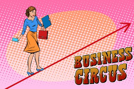 retro woman: Businesswoman acrobat business circus pop art retro style. Balance in business. Woman walking on a rope at height. Chart of sales and growth. Circus and business Illustration