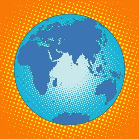 eastern europe: Earth Eurasia Africa Australia Antarctica Asia Europe pop art retro style. The globe map. Eastern hemisphere. Blue planet