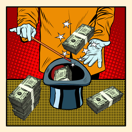 Illusionist magic hat money pop art retro style. Business circus. Money and finances