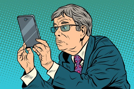 funny pictures: The funny man taking pictures with smartphone pop art retro style. The elderly and gadgets. New technologies. Selfie