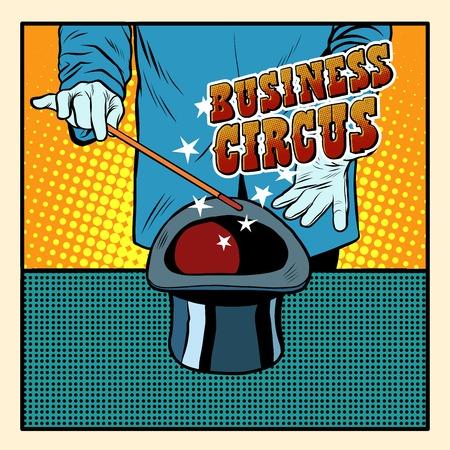El estilo de negocios magia del circo del sombrero pop retro arte ilusionista. cartel retro. Circo Ilustración de vector
