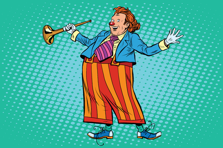 comedian: Circus clown in bright clothes pop art retro style. Comic artist, comedian. Clown vector. Clown character. Childrens holiday carnival