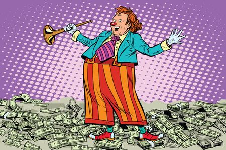 fatso: Business concept money clown joke pop art retro style. Cash drawing. Lottery