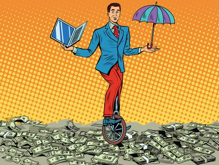unicycle: business concept money computer protection pop art retro style. Businessman balancing on unicycle Stock Photo