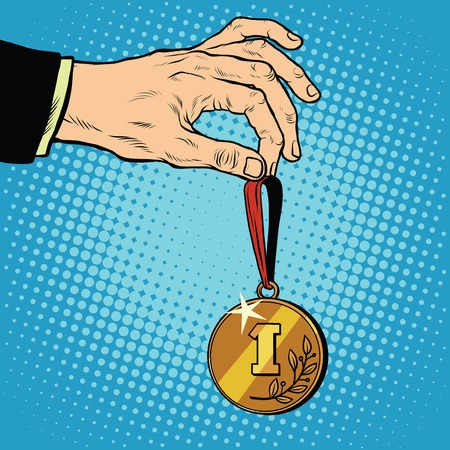 sporting event: Awarded a medal the first place winner champion pop art retro style. Gold medal for first place. Sporting event