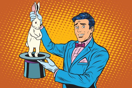 Magician trick rabbit pop art retro style. Magic hat. The illusionist trick circus. Circus rabbit.