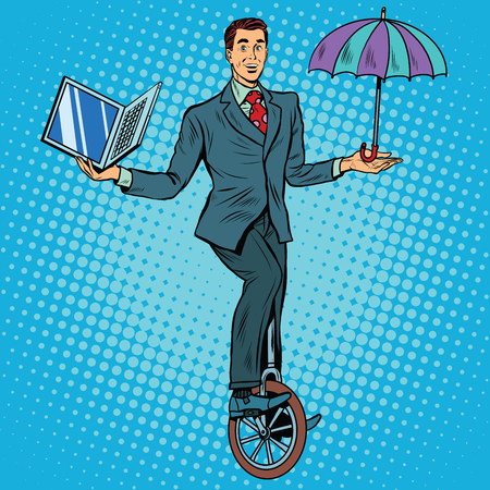 unicycle: Businessman on unicycle business balance pop art retro style. Circus business concept. Protection laptop. Computer protection anti-virus program