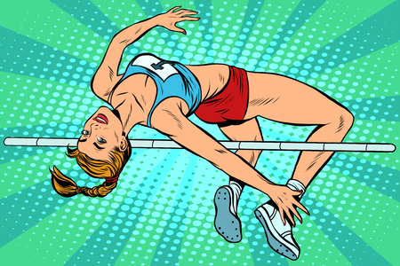 beauty contest: Athlete high jump girl pop art retro style. Overcoming the strap height. Summer sports, athletics