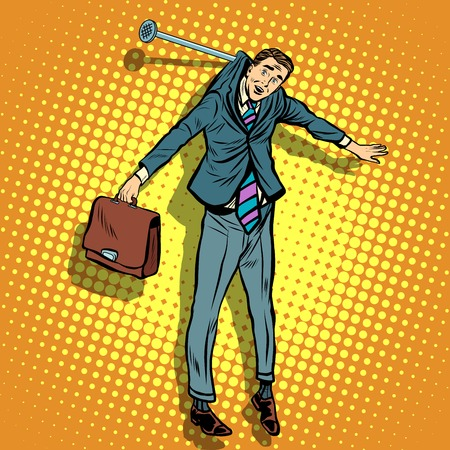 businessman hanging on the wall pop art retro style. The guilty man. Little man. small business