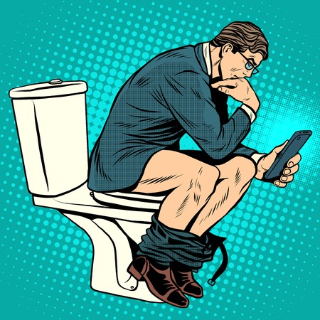 businessman thinker on toilet pop art retro style. A man reads news in the smartphone in the toilet. Modern life. Humor Vettoriali