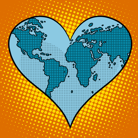 love of planet: Heart earth planet pop art retro style. Ecology and environmental protection. Map of continents and oceans. Love for planet Earth