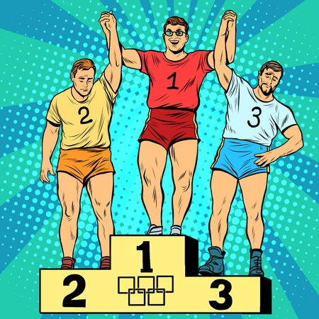 sports form: Sport first second and third place on the podium pop art retro style. The joy of victory. Summer sports games.