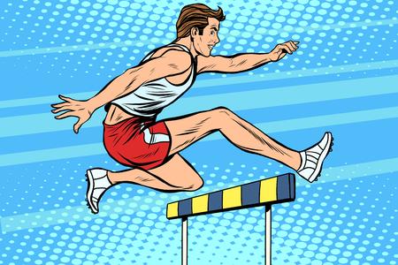 hurdles: Man running hurdles athletics pop art retro style. The athlete jumps the barrier. Treadmill. Summer sports, athletics Illustration
