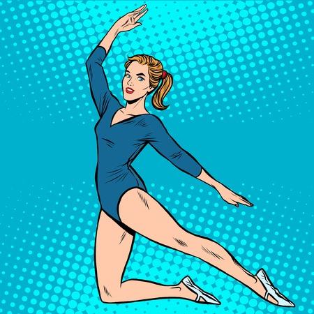 Beautiful gymnast sports summer games pop art retro style. Rhythmic gymnastics. Athletics and gymnastics. Girl athlete Stock Illustratie
