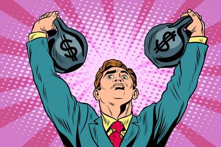 heaviness: Businessman strongman lifts weights money pop art retro style. Money and Finance business concept