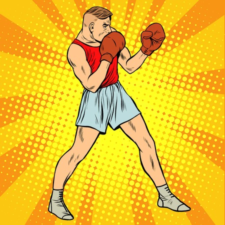 sports form: Retro boxer in fighting stance pop art retro style. Summer sports games. Boxing and martial arts